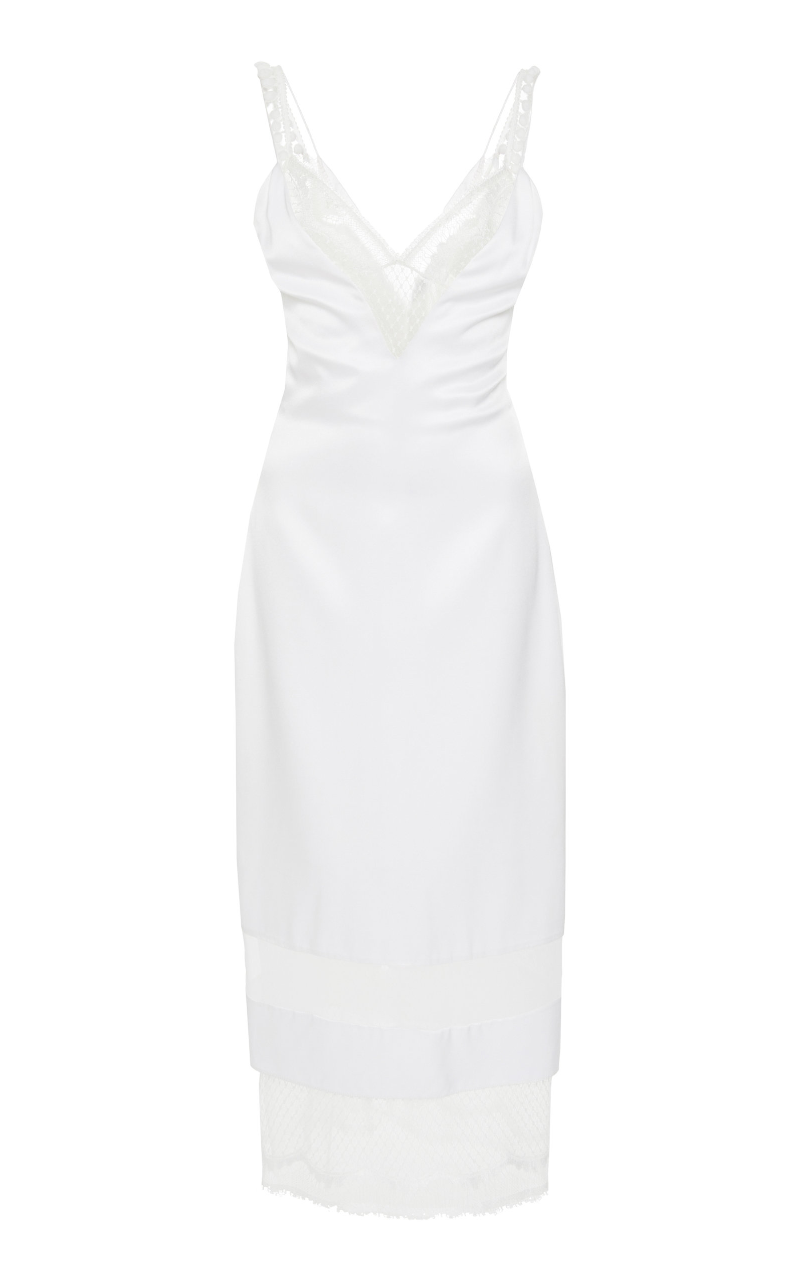 Mesh And Lace Paneled Silk Satin Dress by Cushnie