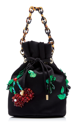 EDIE PARKER | Edie Parker Shorty Embroidered Satin Bag | Goxip