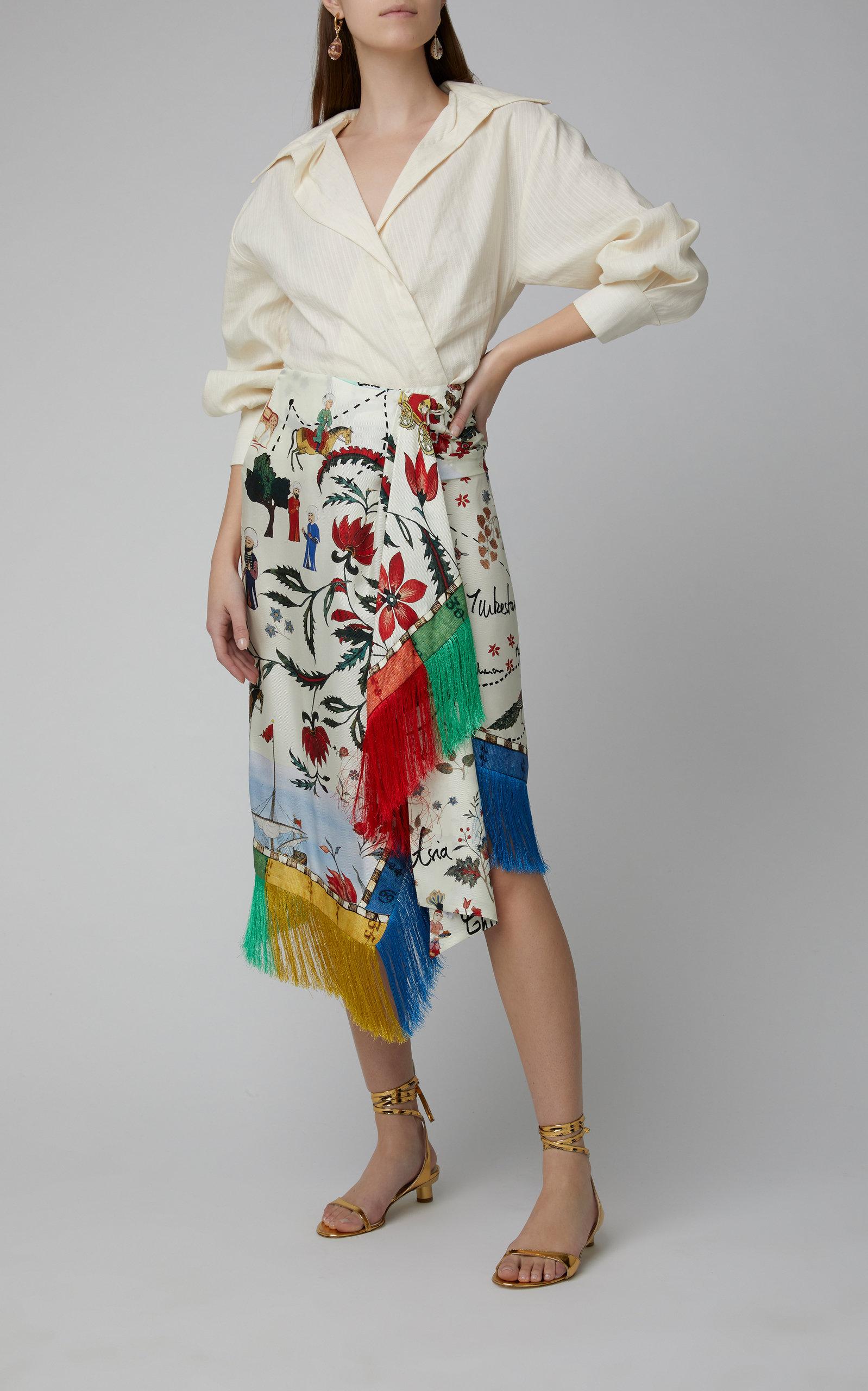 Fringe-Trimmed Printed Silk Midi Skirt