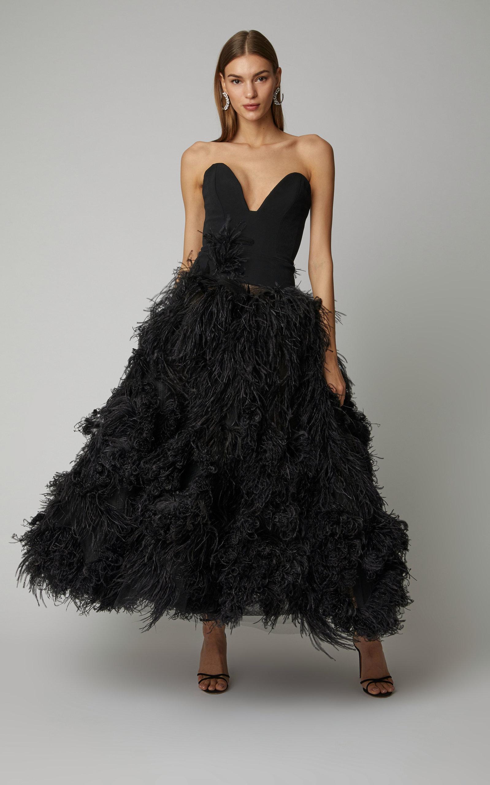c2fdfd54900c9 Oscar de la RentaStrapless Feather-Embellished Crepe Gown. CLOSE. Loading