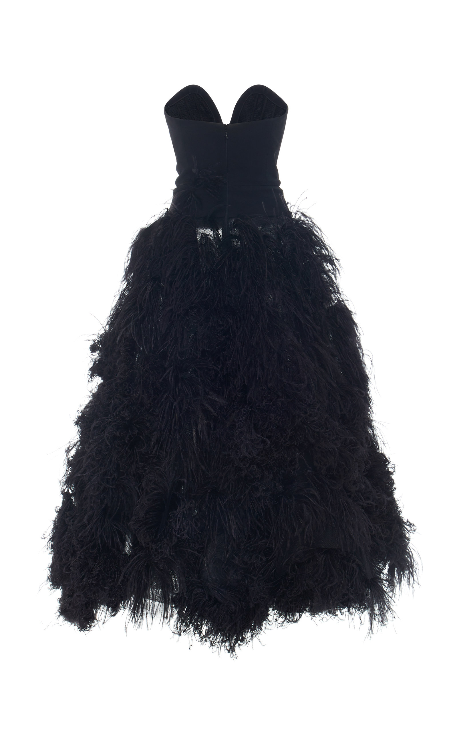 0671d3e9f9ff9 Strapless Feather-Embellished Crepe Gown by Oscar de la Renta | Moda ...