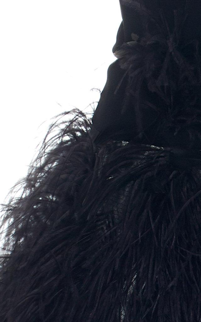 cee5e381ff345 Oscar de la RentaStrapless Feather-Embellished Crepe Gown. CLOSE. Loading.  Loading. Loading