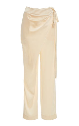 da7e1a4a4ff4cc Oscar de la RentaDraped Silk-Satin Straight-Leg Pants