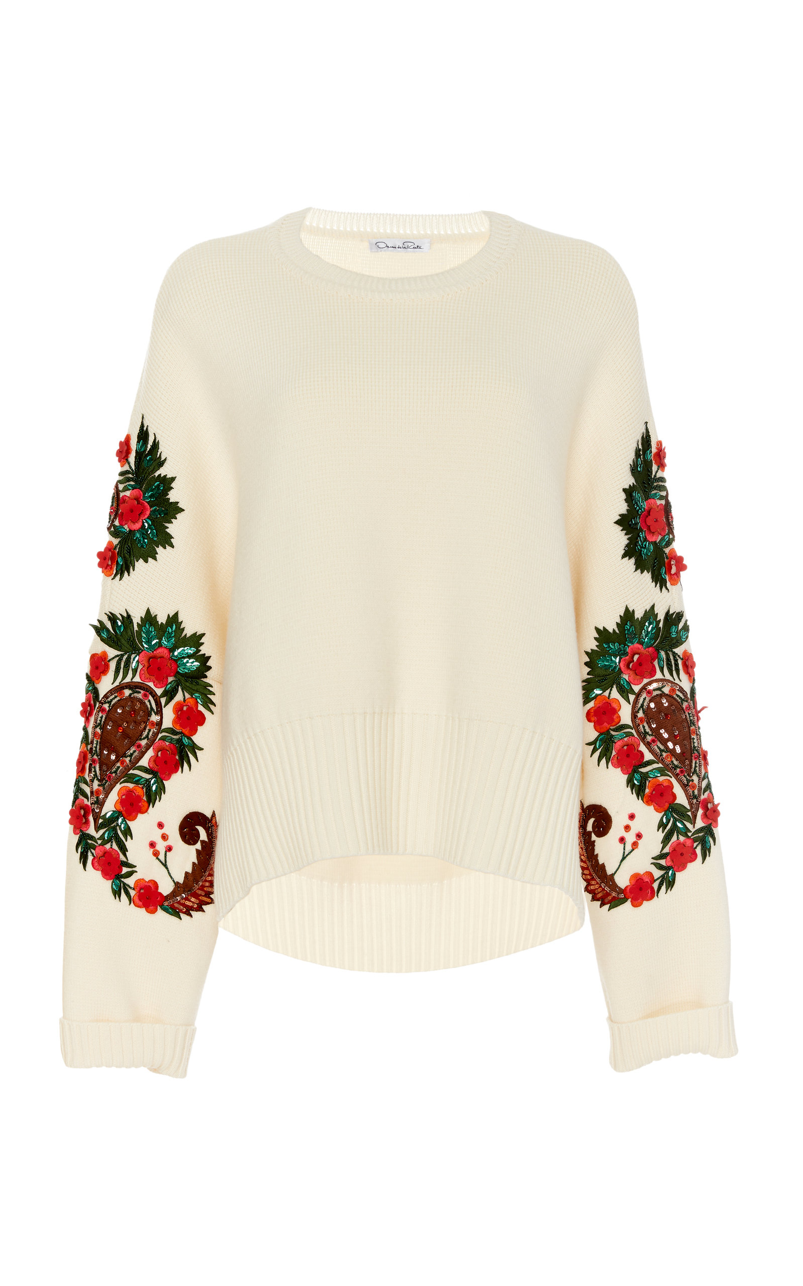 Oscar De La Renta FLORAL-EMBROIDERED WOOL SWEATER