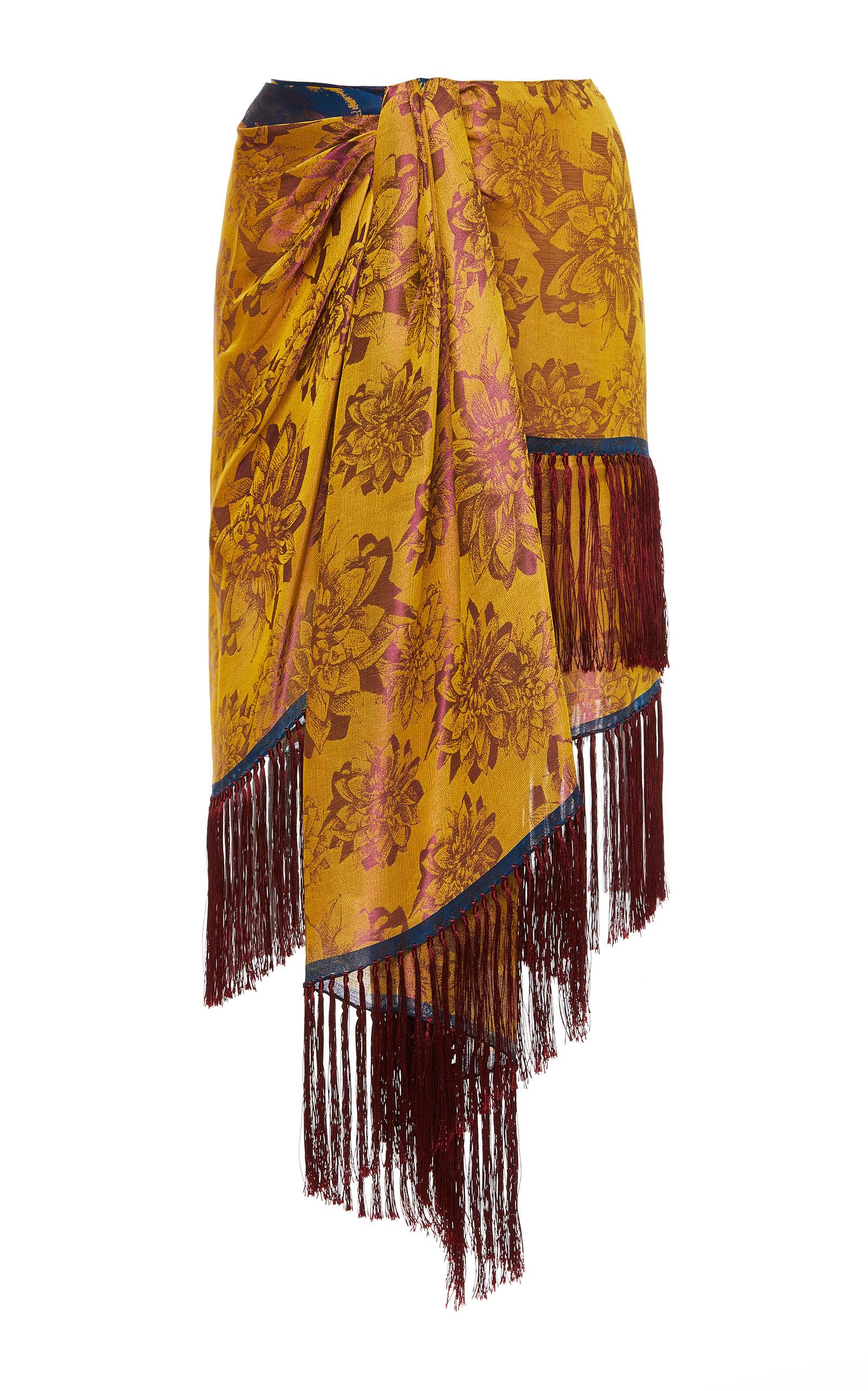 OSCAR DE LA RENTA | Oscar De La Renta Fringe-Trimmed Floral-Print Silk Midi Skirt | Goxip