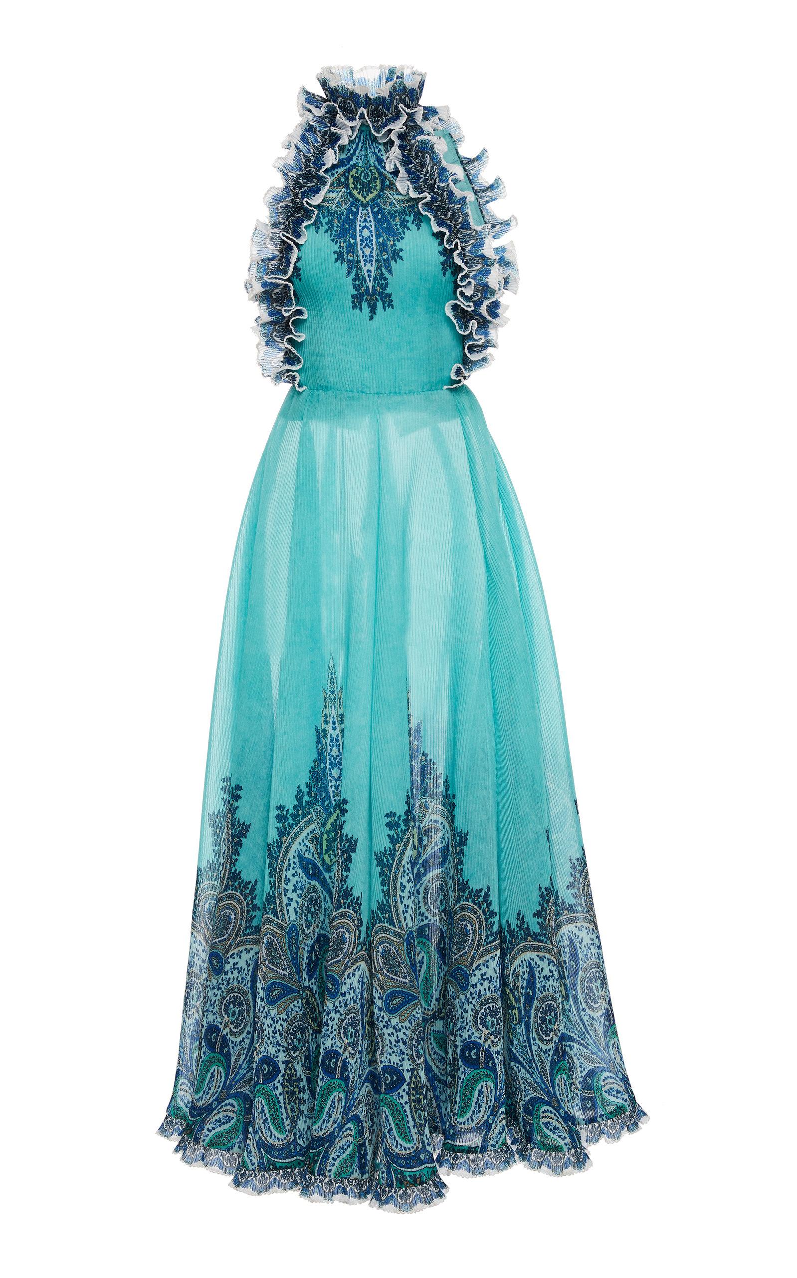 0baaa1c326af6 Moncur Ruffle-Neck Chiffon Dress by Zimmermann | Moda Operandi