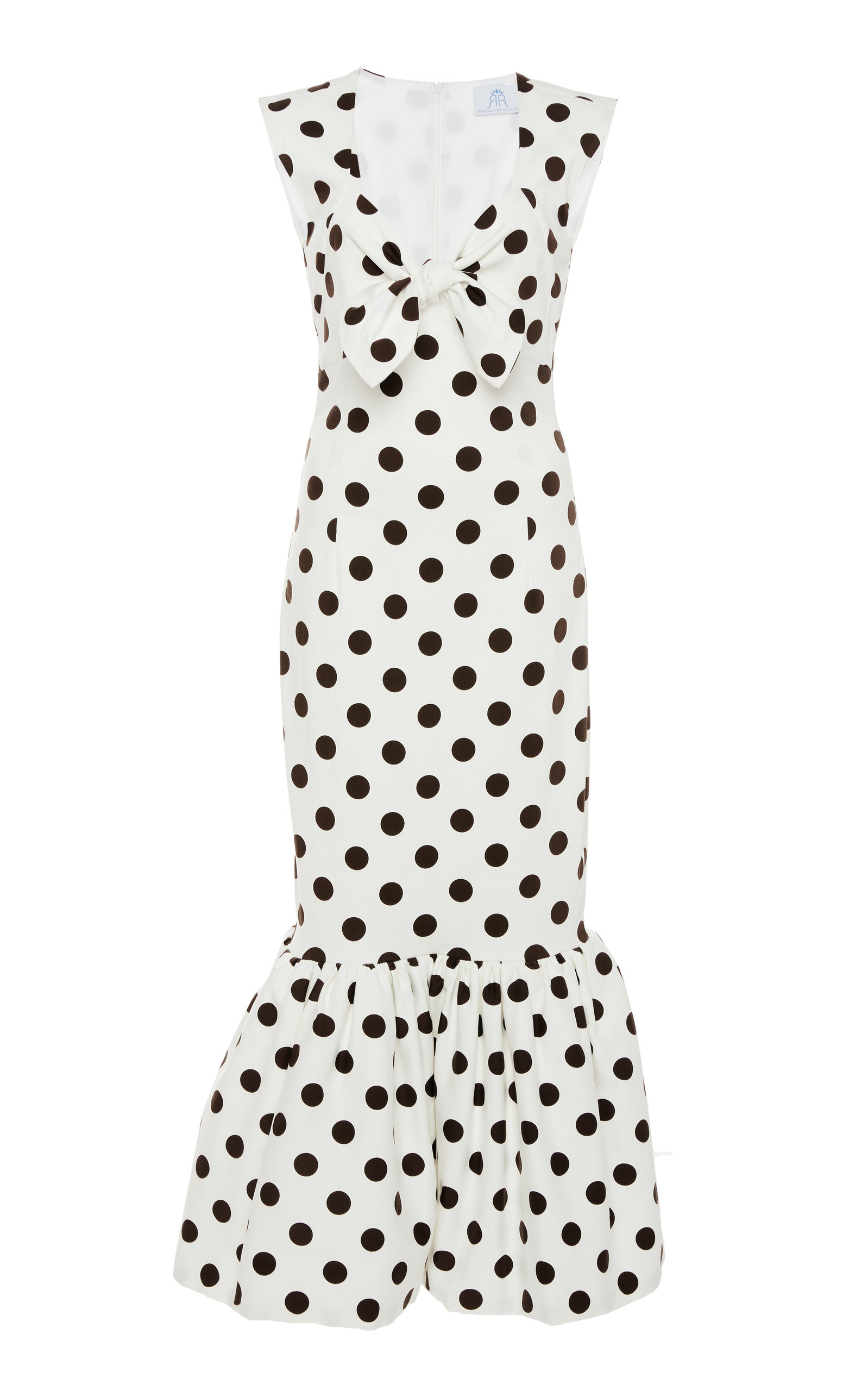 Rebecca De Ravenel Tie-Front Polka-Dot Stretch-Cotton Maxi Dress