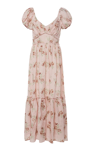 LOVESHACKFANCY   LoveShackFancy Angie Floral-Print Linen Maxi dress   Goxip