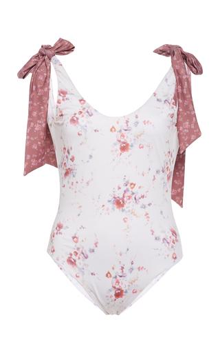 LOVESHACKFANCY | LoveShackFancy Posy Floral-Print Stretch-Crepe Swimsuit | Goxip