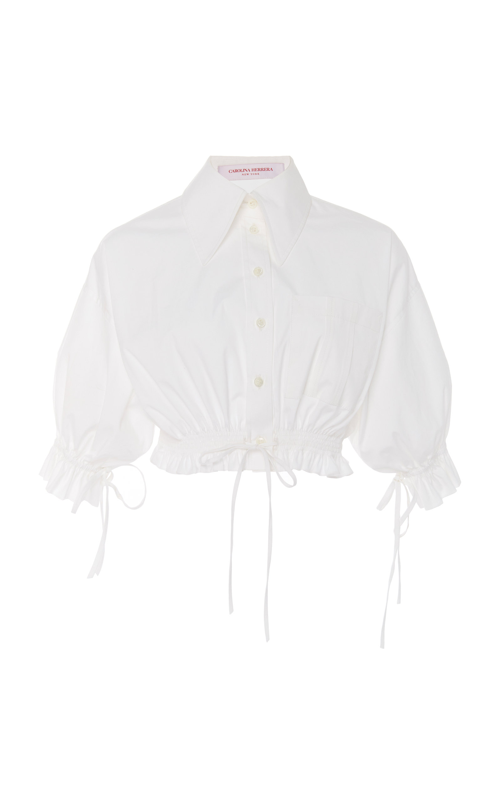 Carolina Herrera SELF-TIE COTTON-BLEND TOP