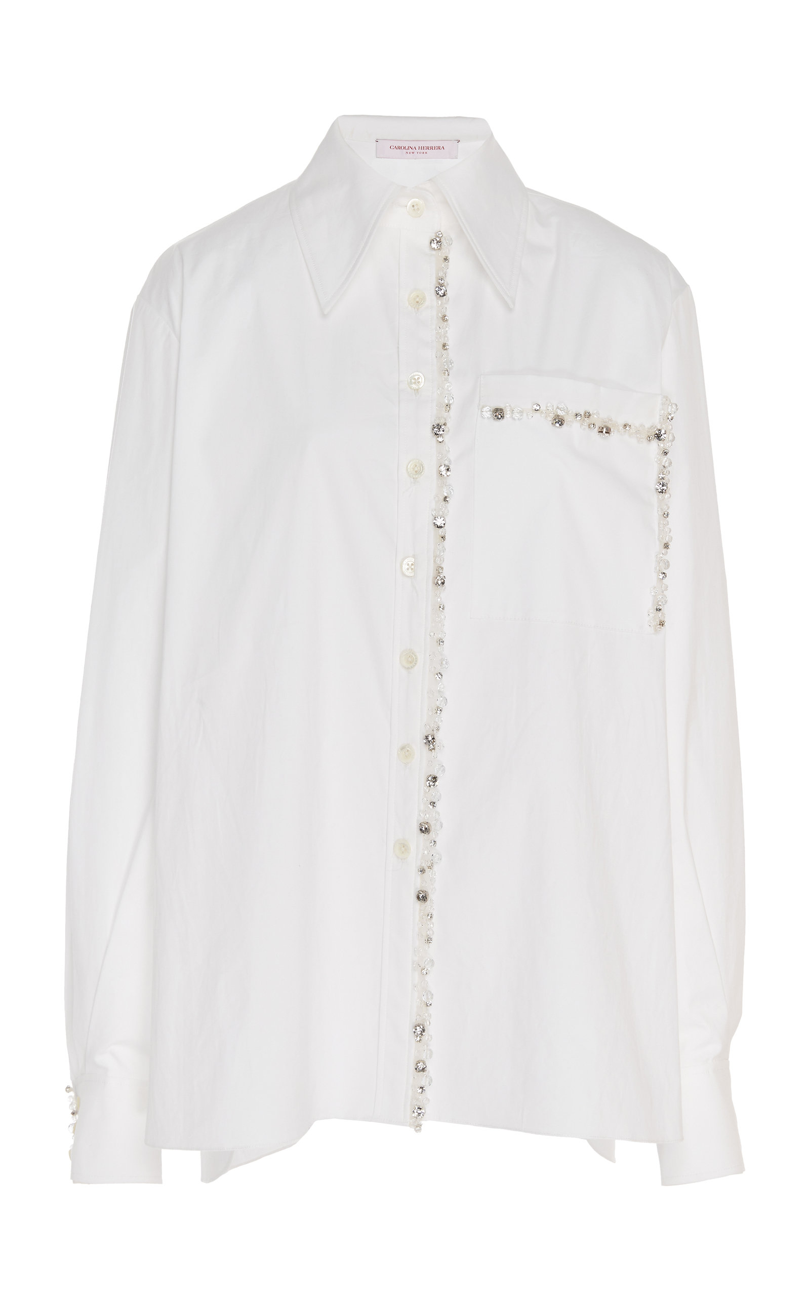 Carolina Herrera LONG SLEEVE COTTON-BLEND SHIRT