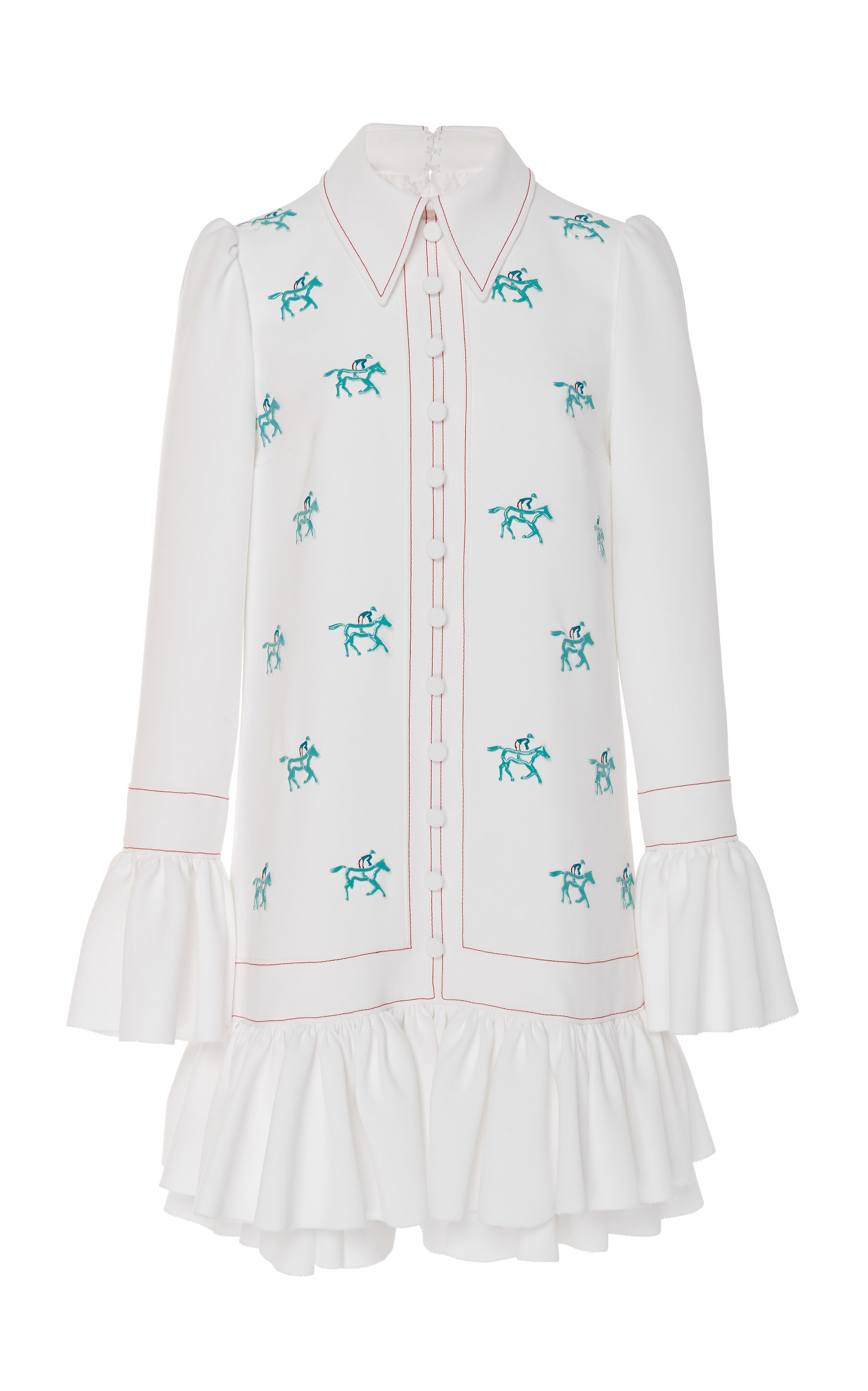 Carolina Herrera LONG-SLEEVE EMBROIDERED MINI DRESS