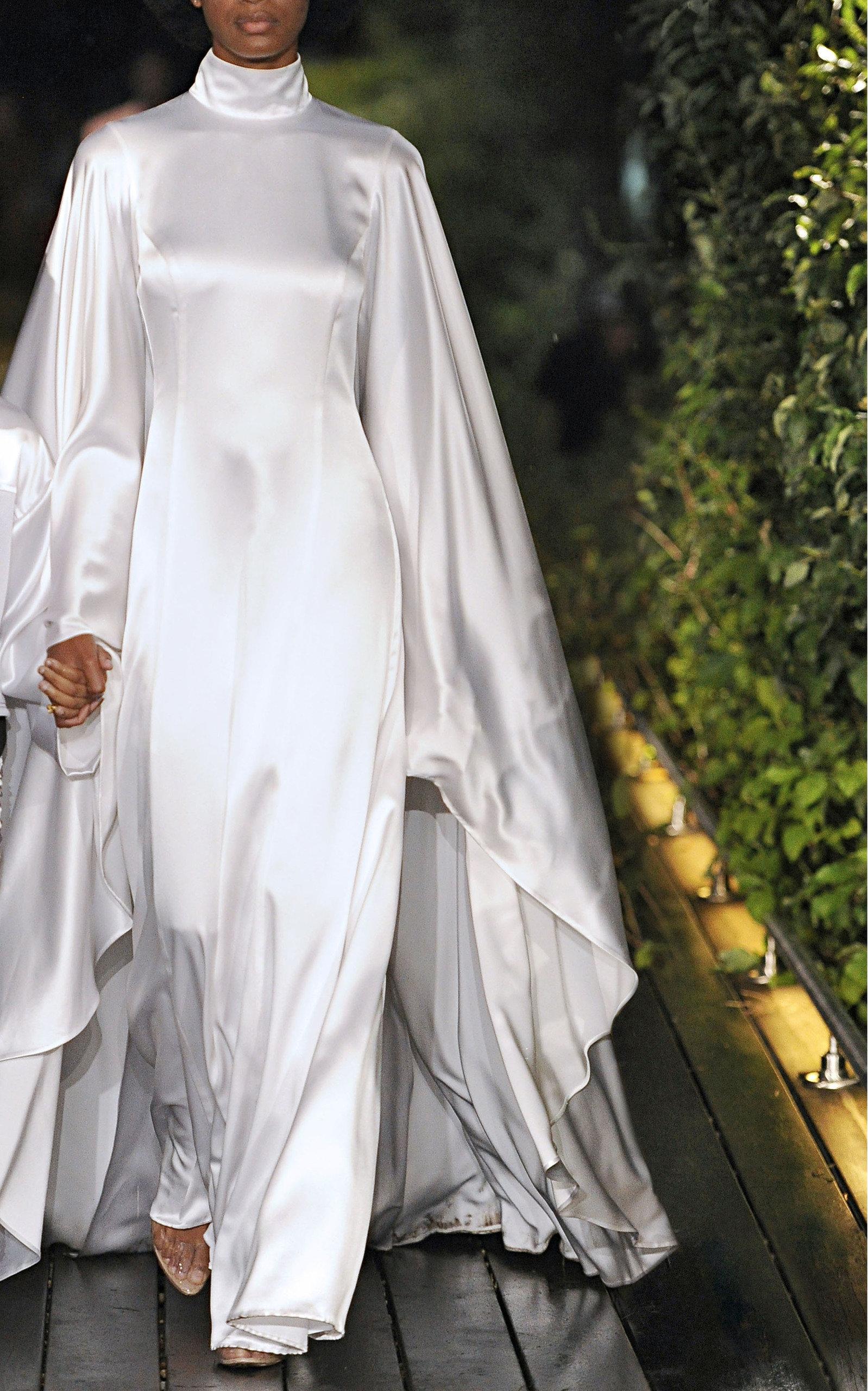 64f5203bfe Draped Silk Wedding Dress by Pyer Moss | Moda Operandi