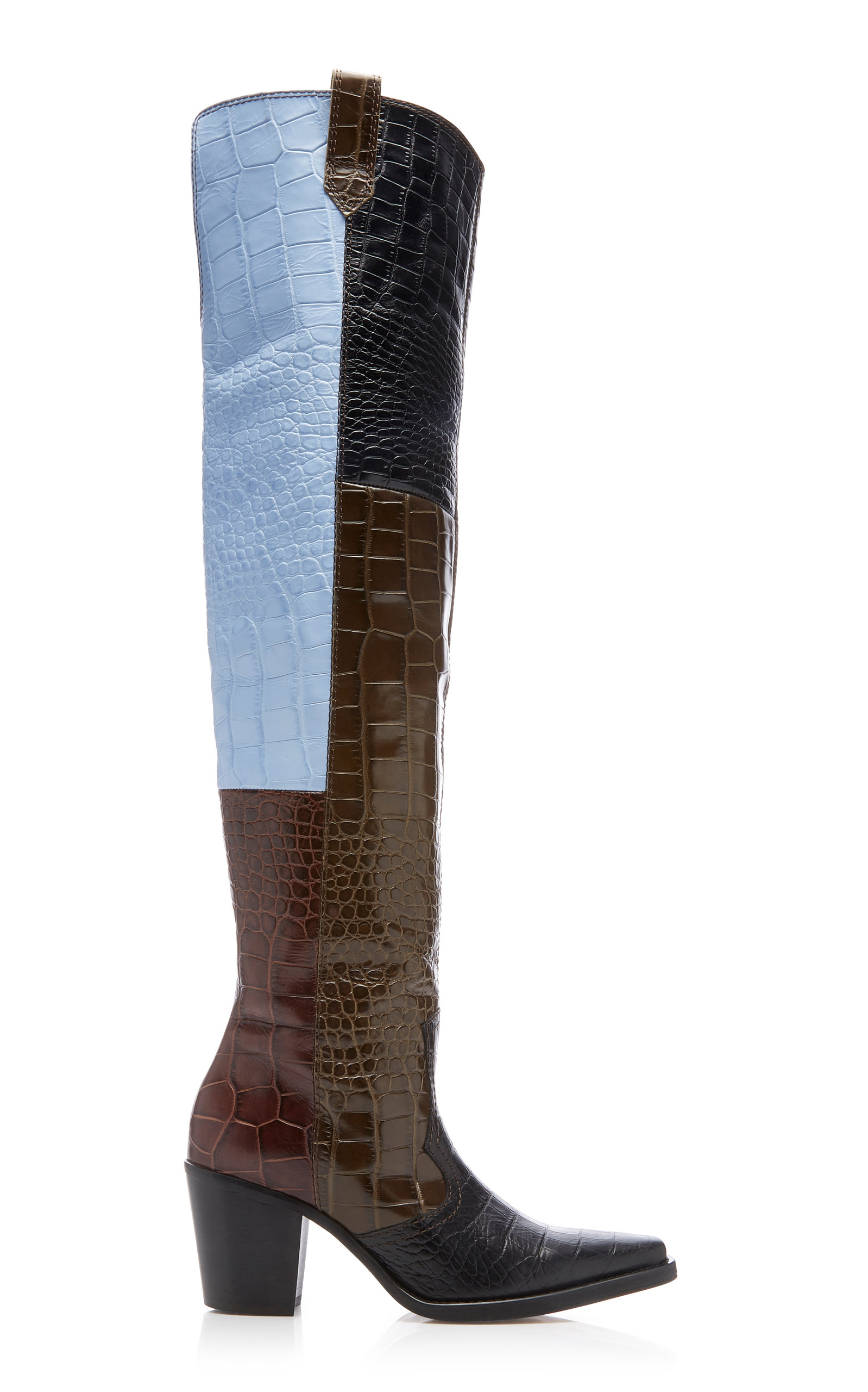 Ganni Boots PANELED CROC-EFFECT LEATHER OVER-THE-KNEE BOOTS