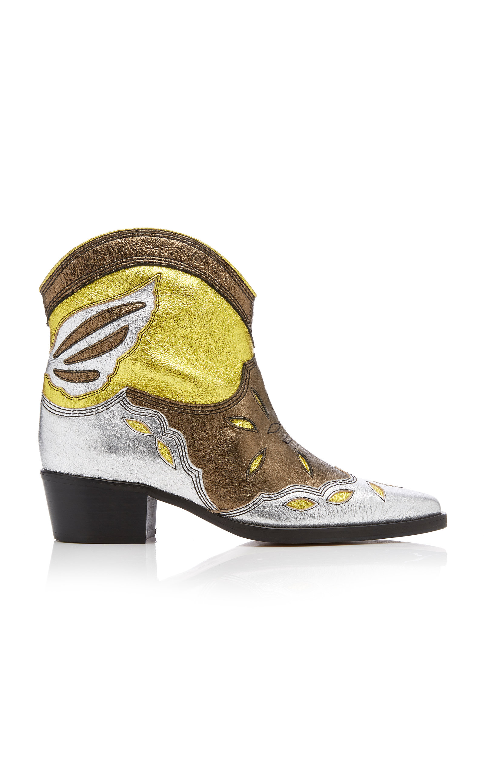 Ganni Boots METALLIC LEATHER ANKLE BOOTS