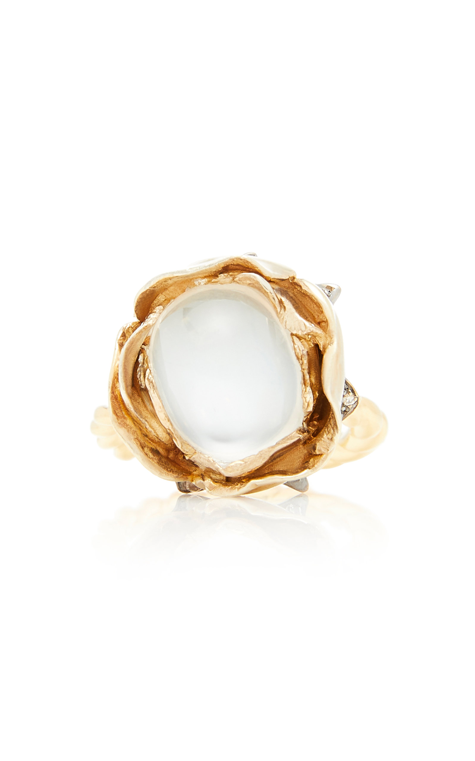 SYLVIE CORBELIN 18K Gold Oxidized Silver Moonstone And Diamond Ring in Blue