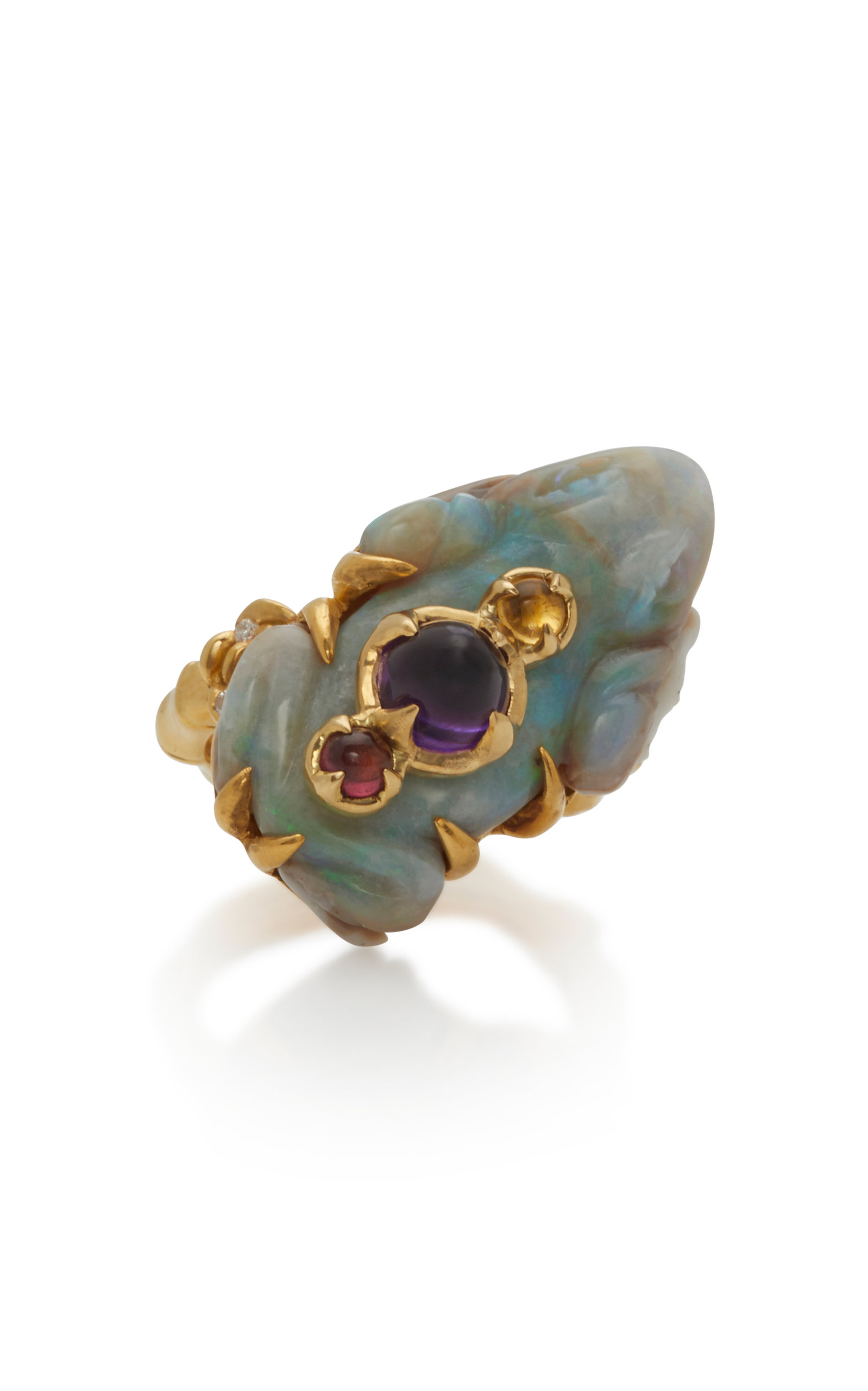 SYLVIE CORBELIN 18K Gold Opal Tourmaline And Amethyst Ring in Blue