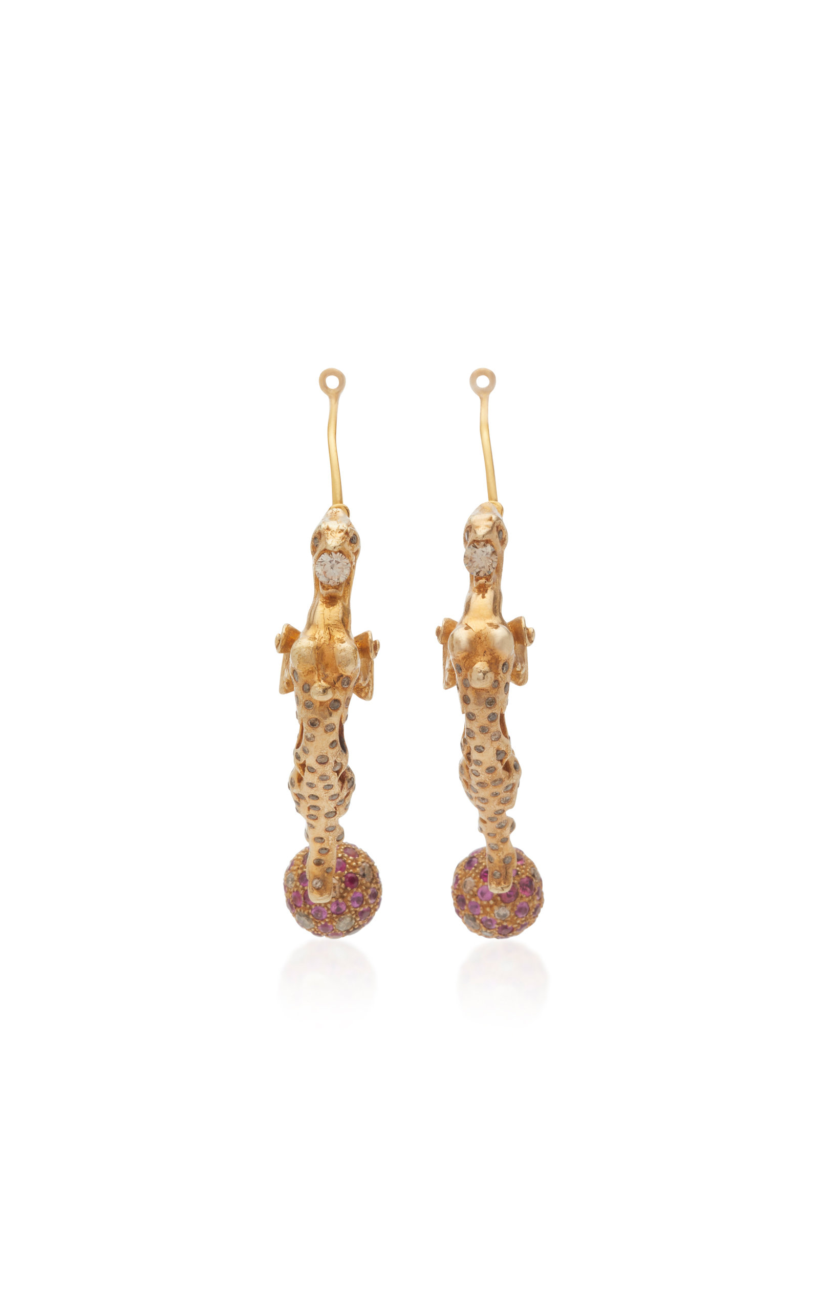 SYLVIE CORBELIN Chimera 18K Gold Ruby And Diamond Earrings