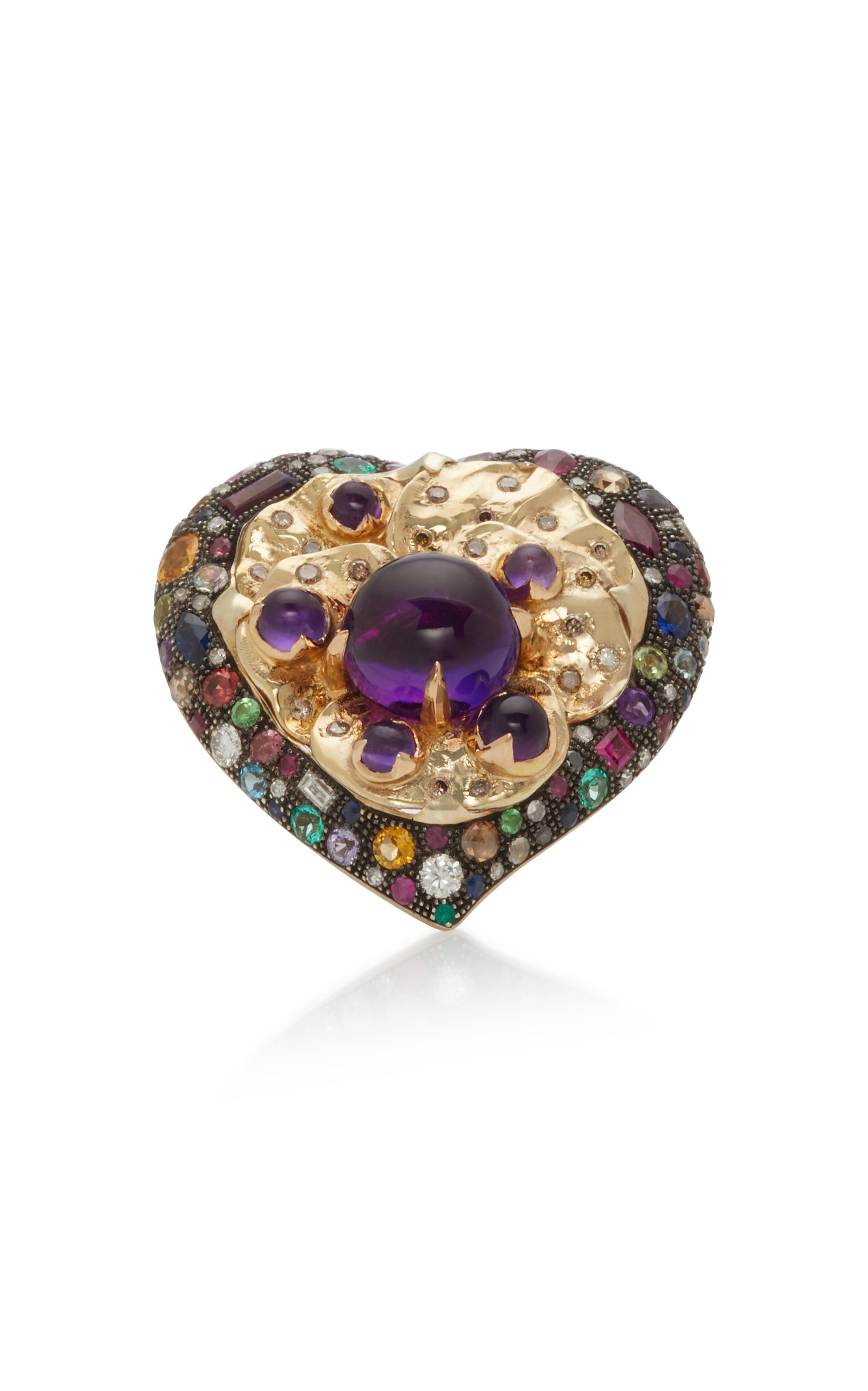 SYLVIE CORBELIN Heart And Pansy 18K Gold Multi-Stone Ring in Purple