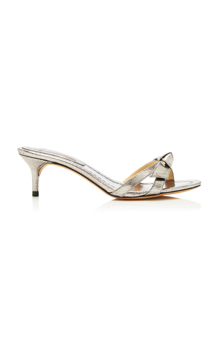 ALEXANDRE BIRMAN | Alexandre Birman Clarita Bow-Embellished Metallic Leather Sandals | Goxip