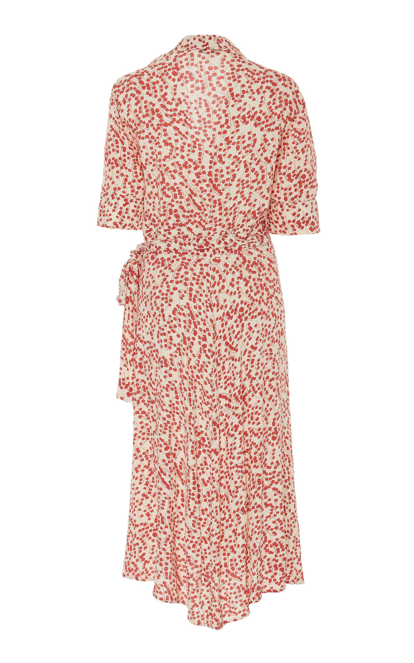 e0097dcb Printed Crepe Midi Wrap Dress by Ganni   Moda Operandi