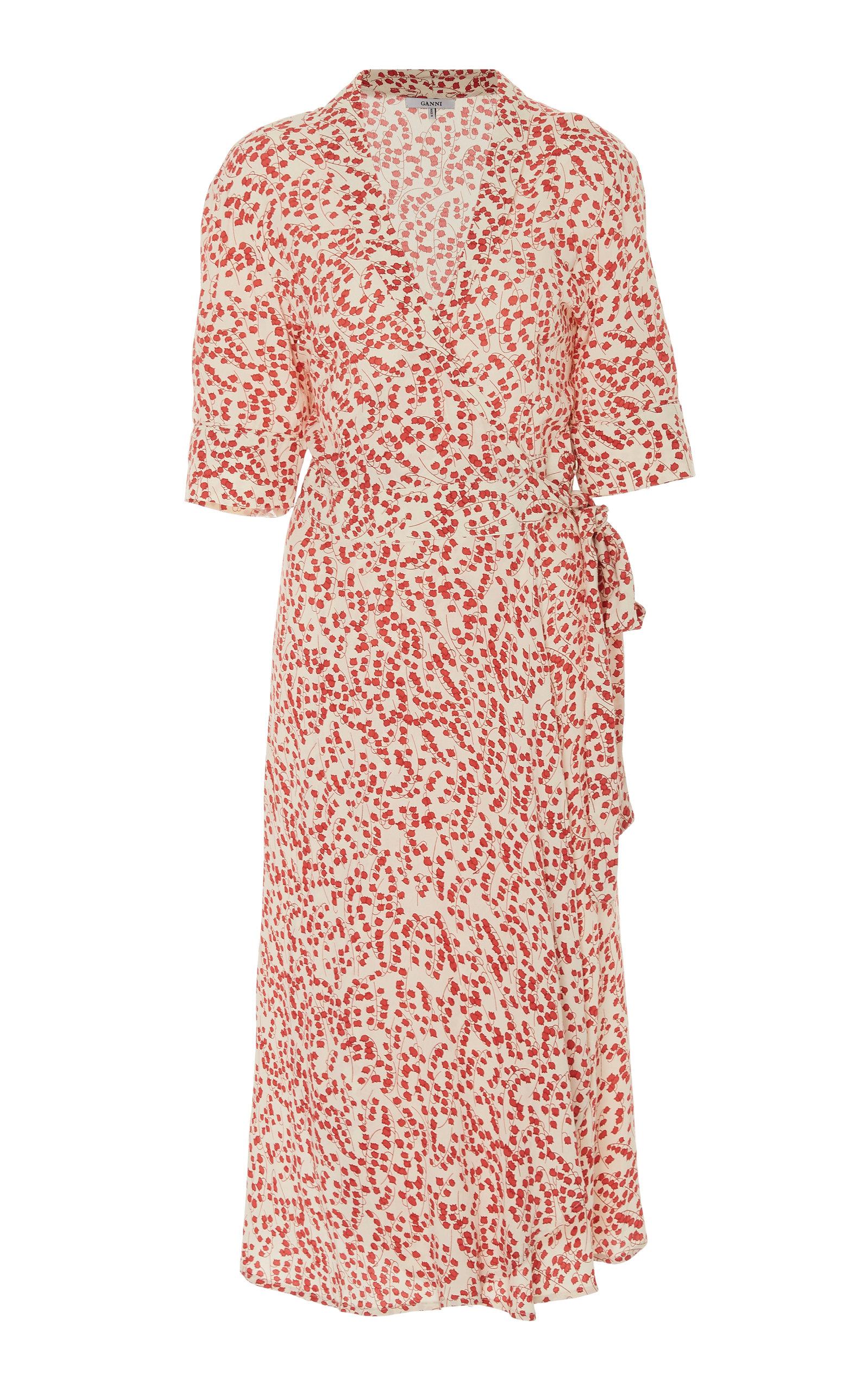 332e7843c2ad5 Printed Crepe Midi Wrap Dress by Ganni   Moda Operandi