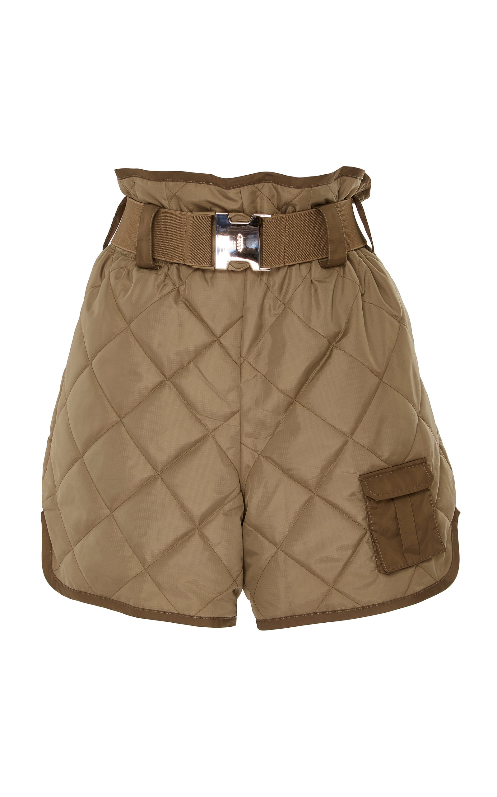 Ganni Shorts BELTED QUILTED SHELL SHORTS