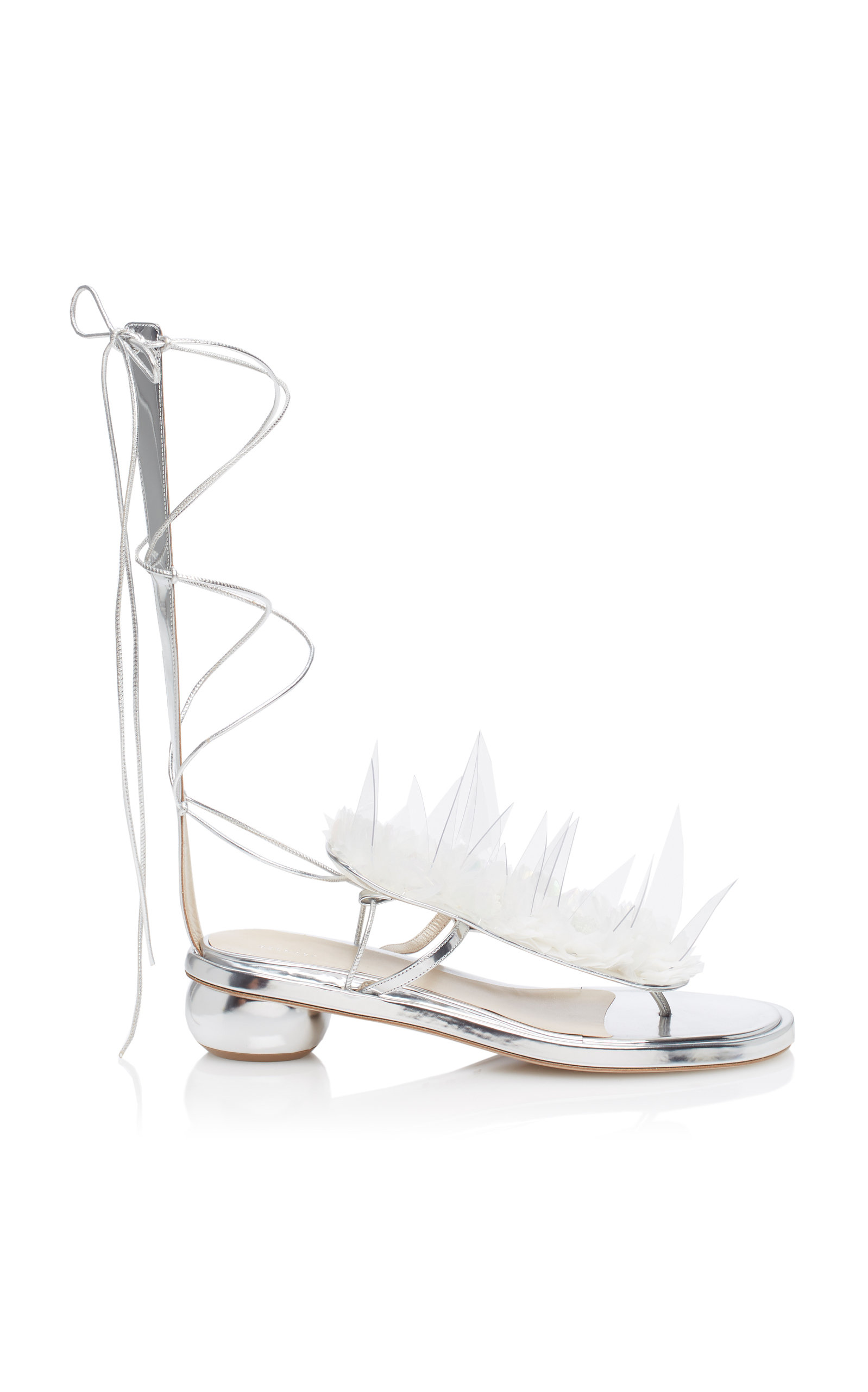 cc5f0f114a4587 Delpozo Lace-Up Mid-Heel Sandals In Silver