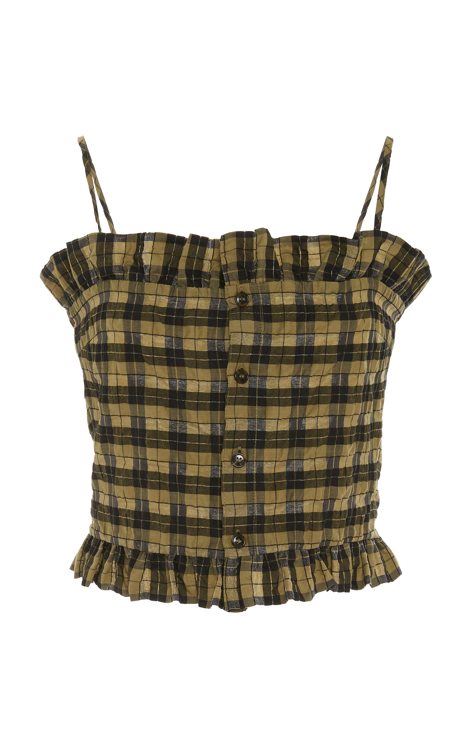 Ganni Tops RUFFLED CHECKED COTTON-BLEND TOP
