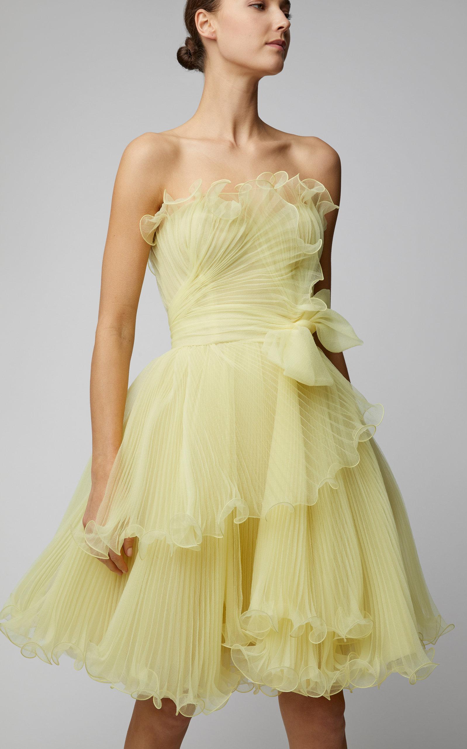 Yellow Strapless Bustier Organza Mini Dress