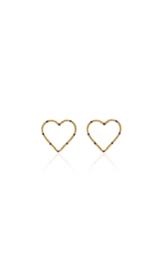 BRENT NEALE | Brent Neale Large Front Facing Textured Heart Studs | Goxip