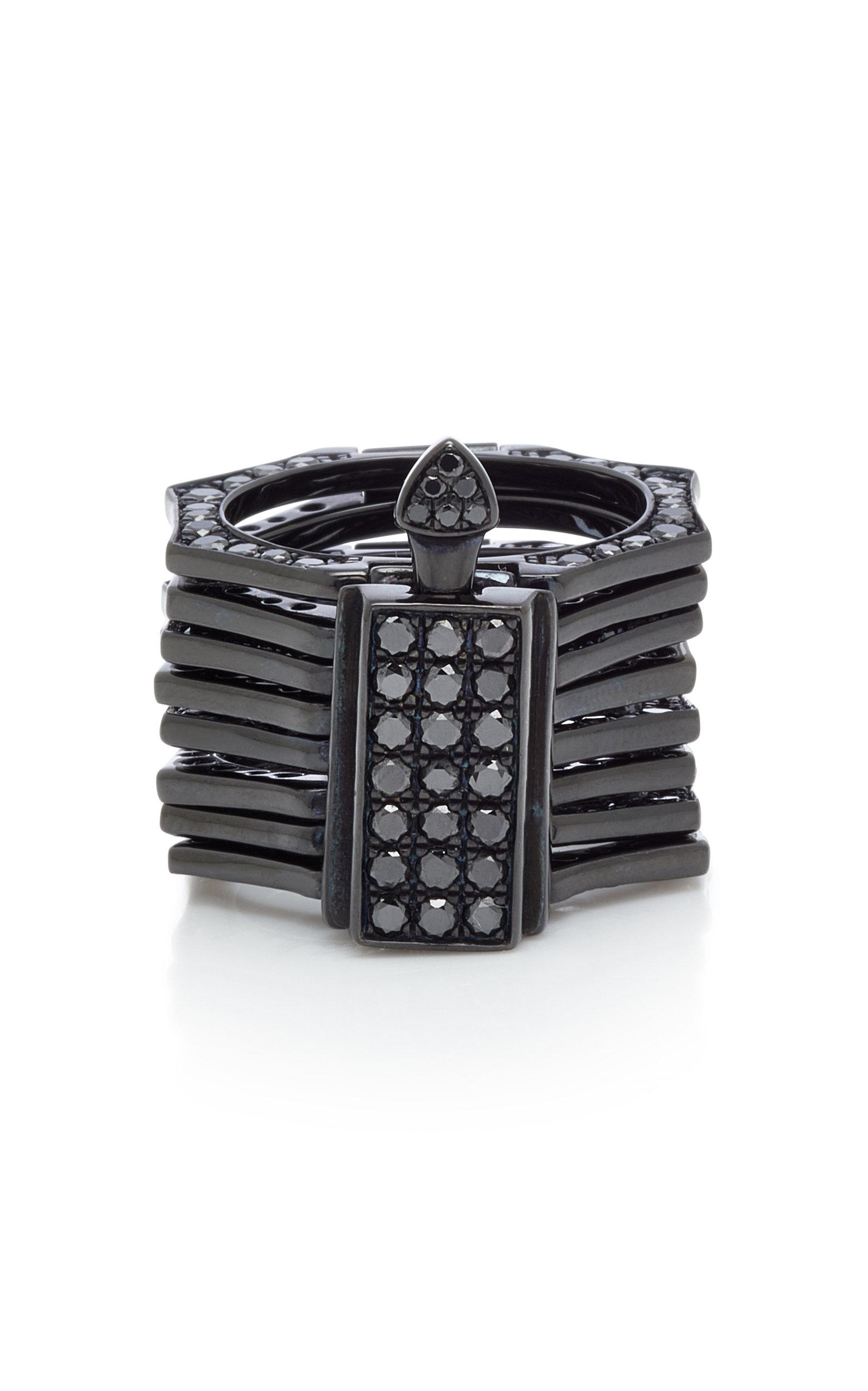 LYNN BAN JEWELRY Reverso Rhodium And Black Diamond Convertible Ring