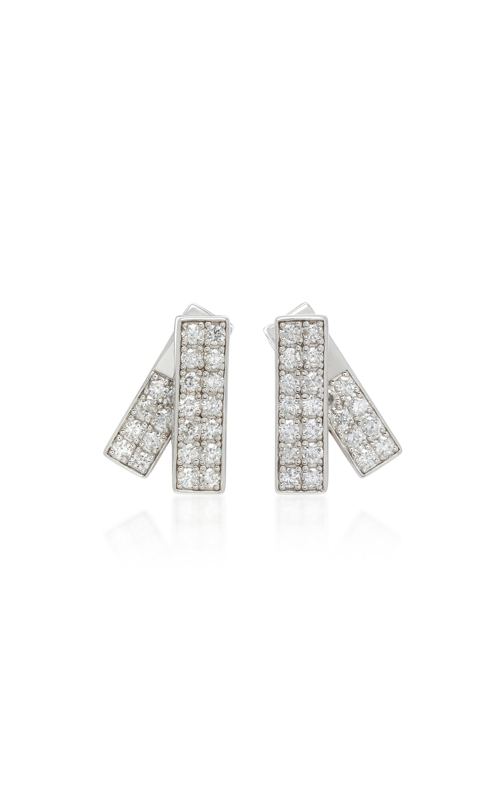 LYNN BAN JEWELRY Insignia Sterling Silver And Diamond Earrings in White