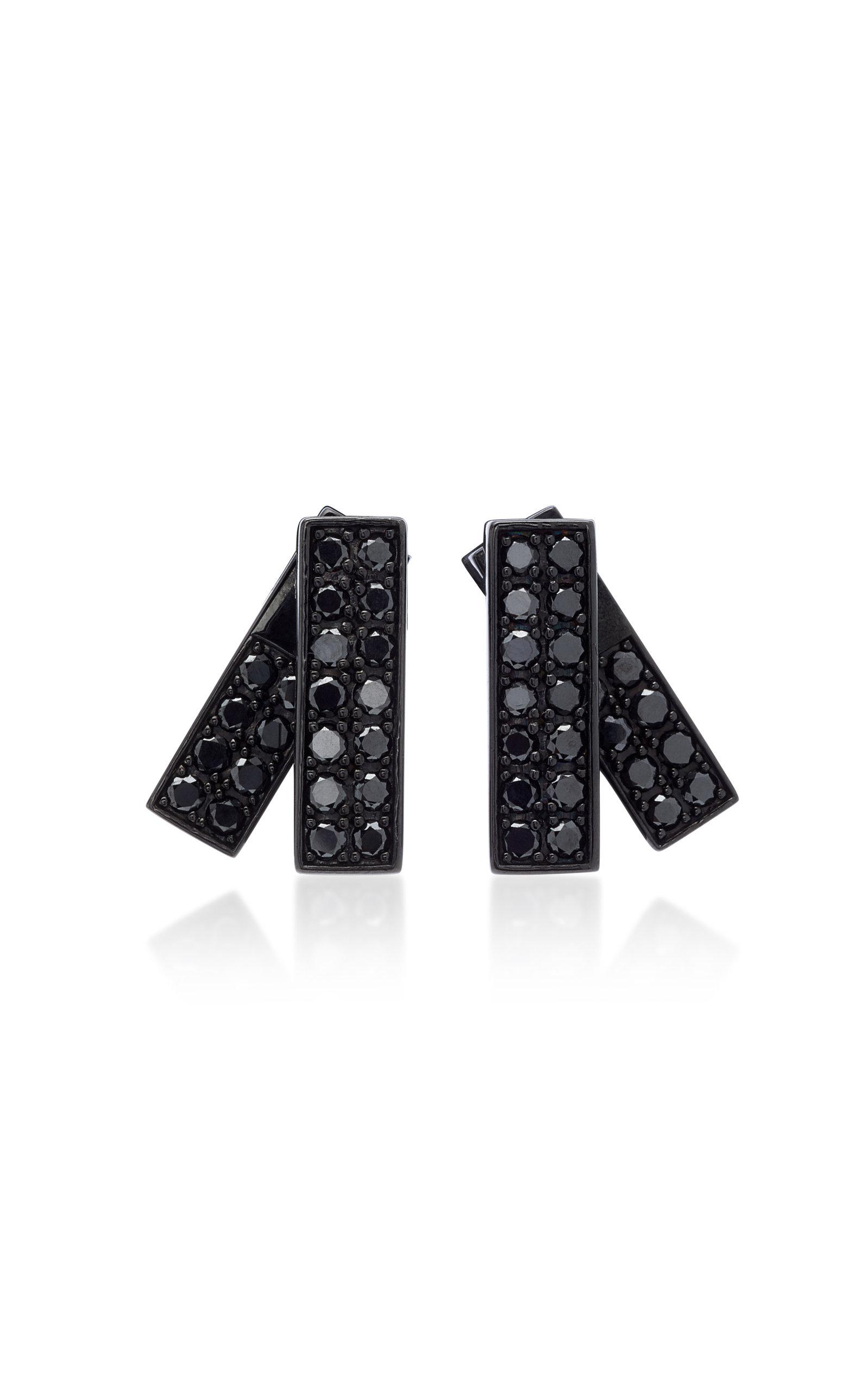 LYNN BAN JEWELRY Insignia Rhodium And Black Diamond Earrings
