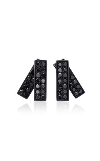 LYNN BAN JEWELRY | Lynn Ban Jewelry Insignia Rhodium And Black Diamond Earrings | Goxip