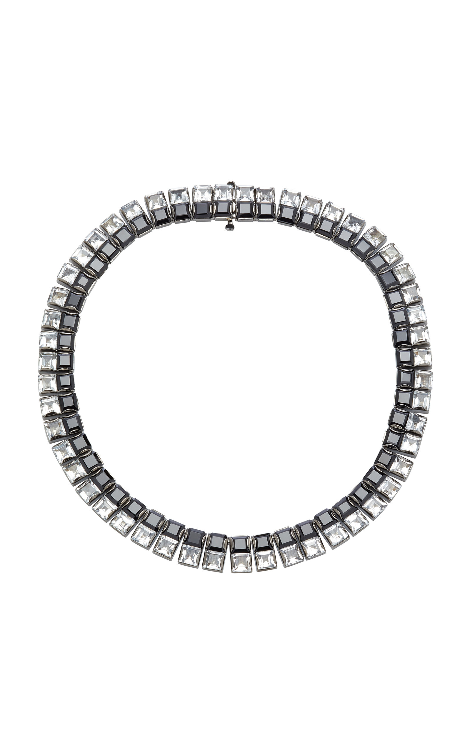 LYNN BAN JEWELRY Riviere Spinels And White Topaz Necklace in Black/White