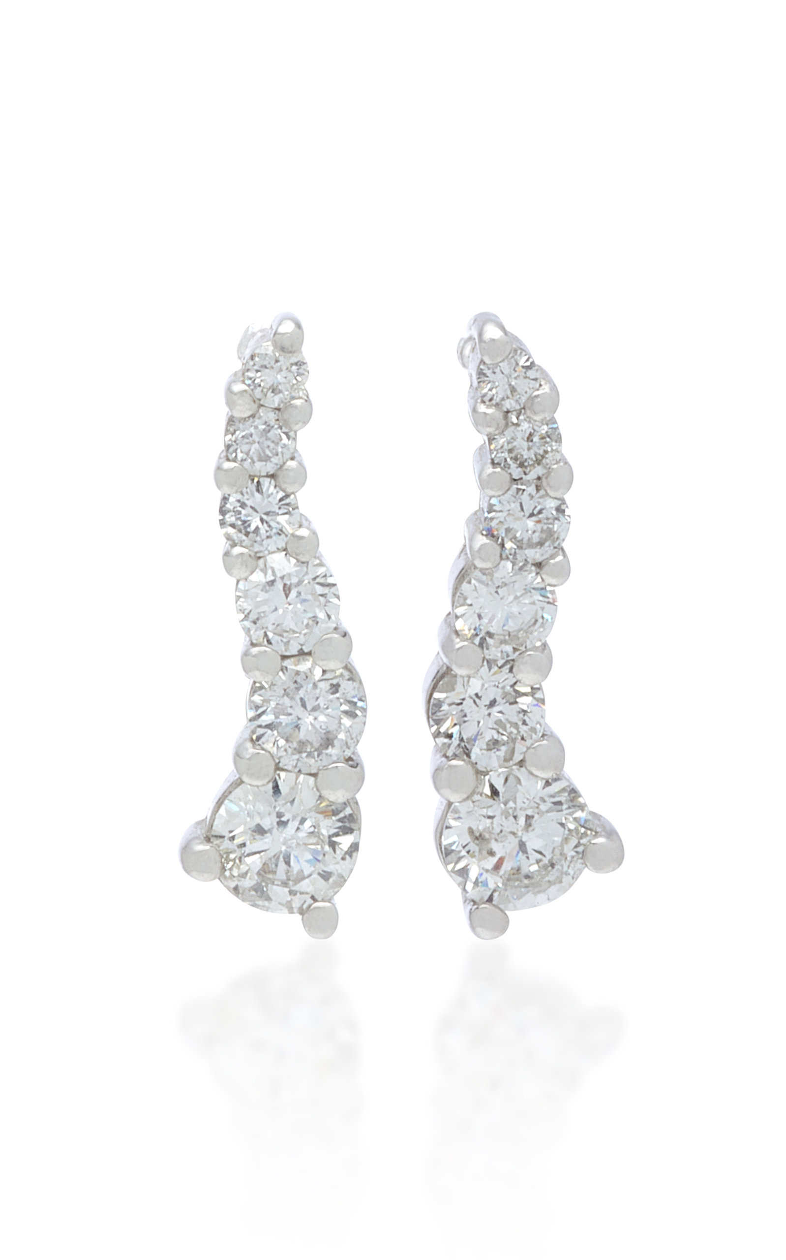 LYNN BAN JEWELRY Larvae Sterling Silver And Diamond Earrings in White