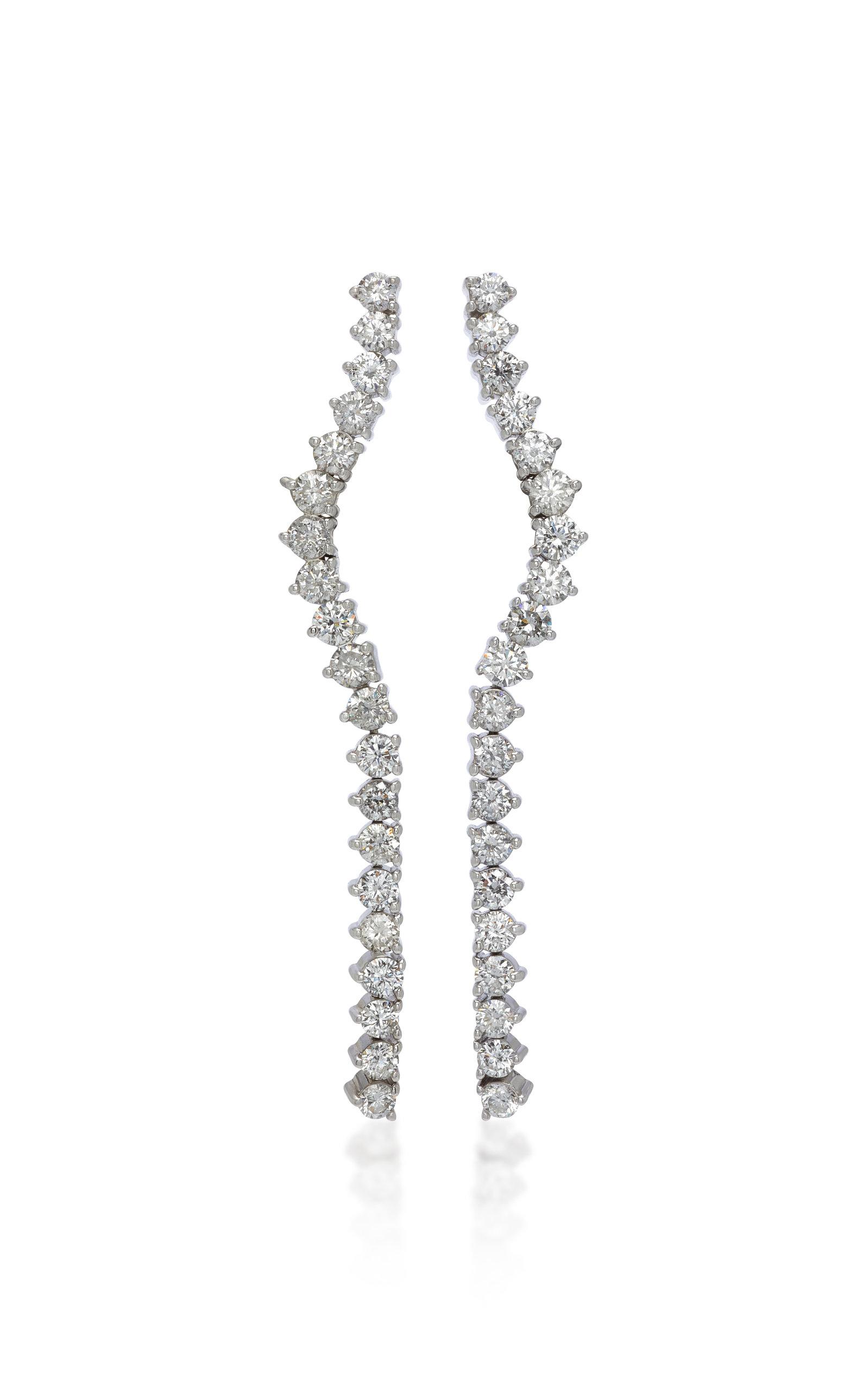 LYNN BAN JEWELRY Rivulet Sterling Silver And Diamond Earrings in White