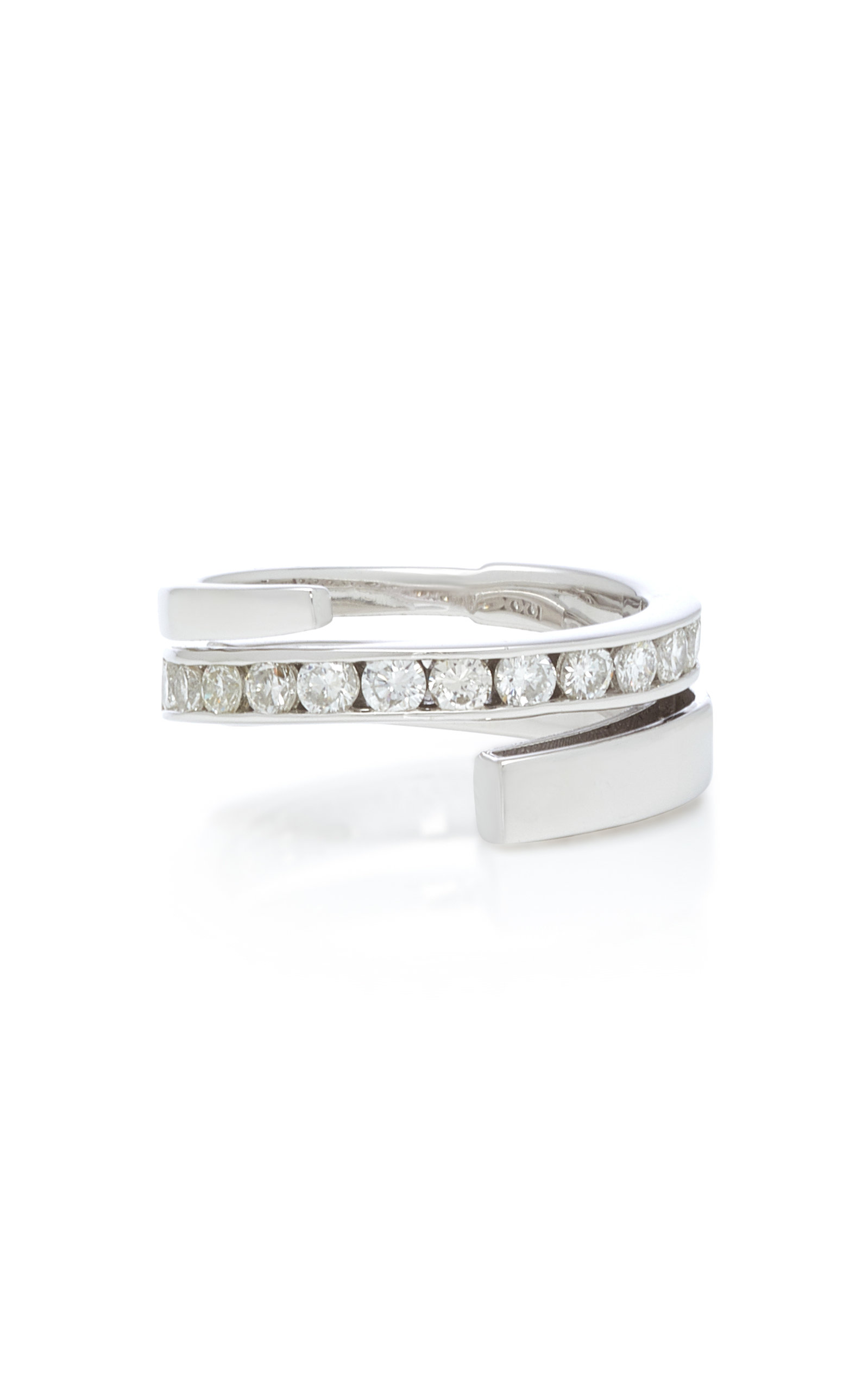 LYNN BAN JEWELRY Sterling Silver Diamond Coil Ring in White