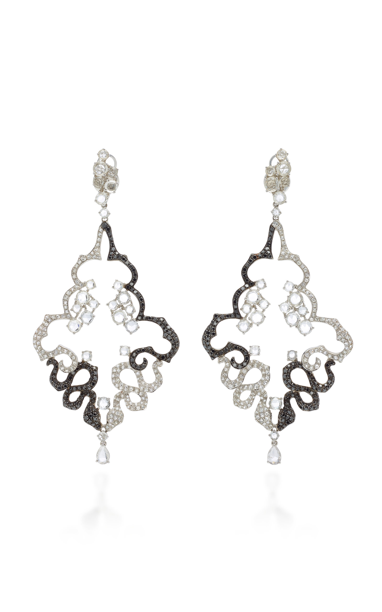 WENDY YUE 18K White Gold White Sapphire And Diamond Earrings in Black/White