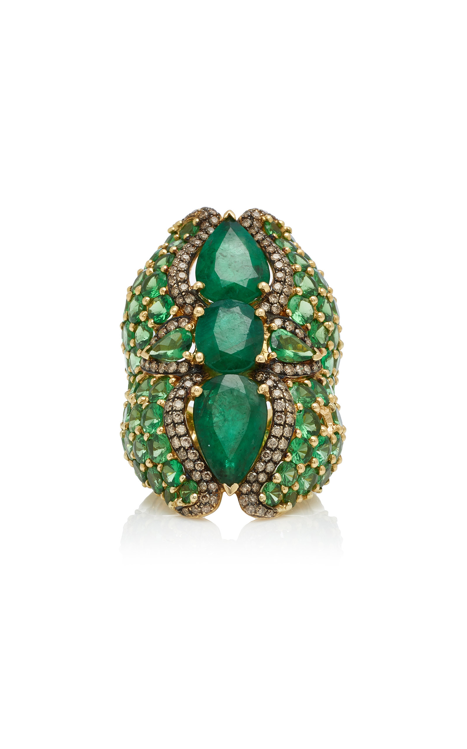 WENDY YUE 18K Gold Multi-Stone Ring in Green