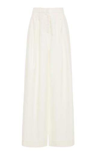Zimmermann Moncur Wide-Leg Silk Trousers In Pearl