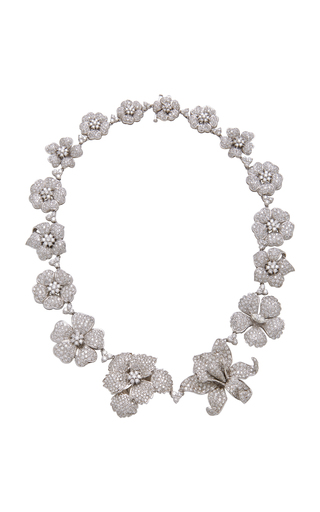 GIOIA | Gioia 18K White Gold And Diamond Floral Necklace | Goxip