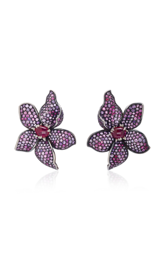 GIOIA | Gioia Fleur Ruby Amethyst And Diamond Ear Clips | Goxip