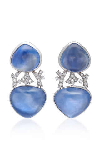 GIOIA | Gioia Cabochon Sapphire And Diamond Drop Earrings | Goxip