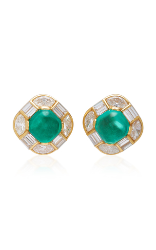 GIOIA | Gioia Bulgari Gold Cabochon Emerald and Diamond Earrings | Goxip