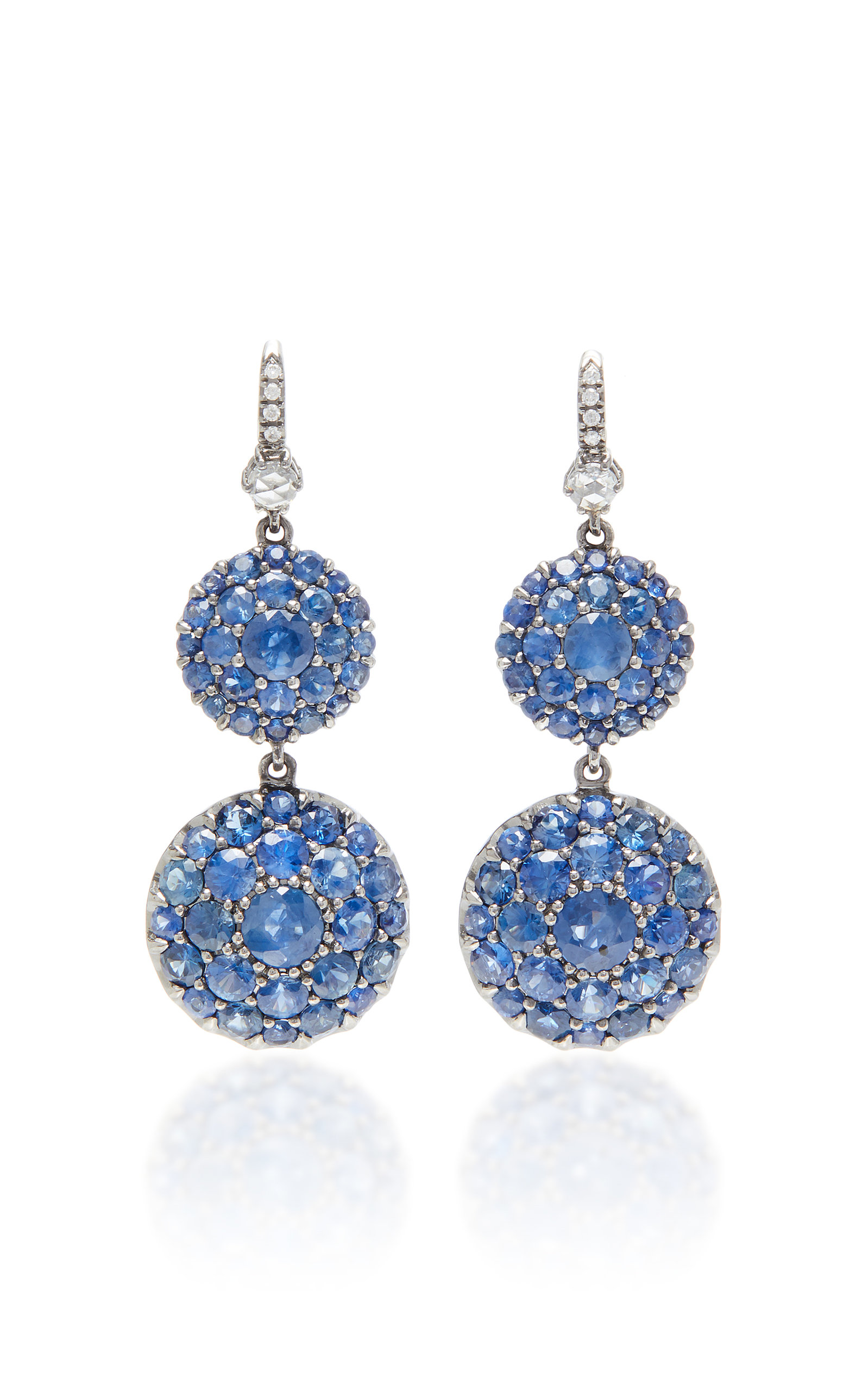NAM CHO Rhodium-Plated 18K White Gold Sapphire And Diamond Earrings in Blue