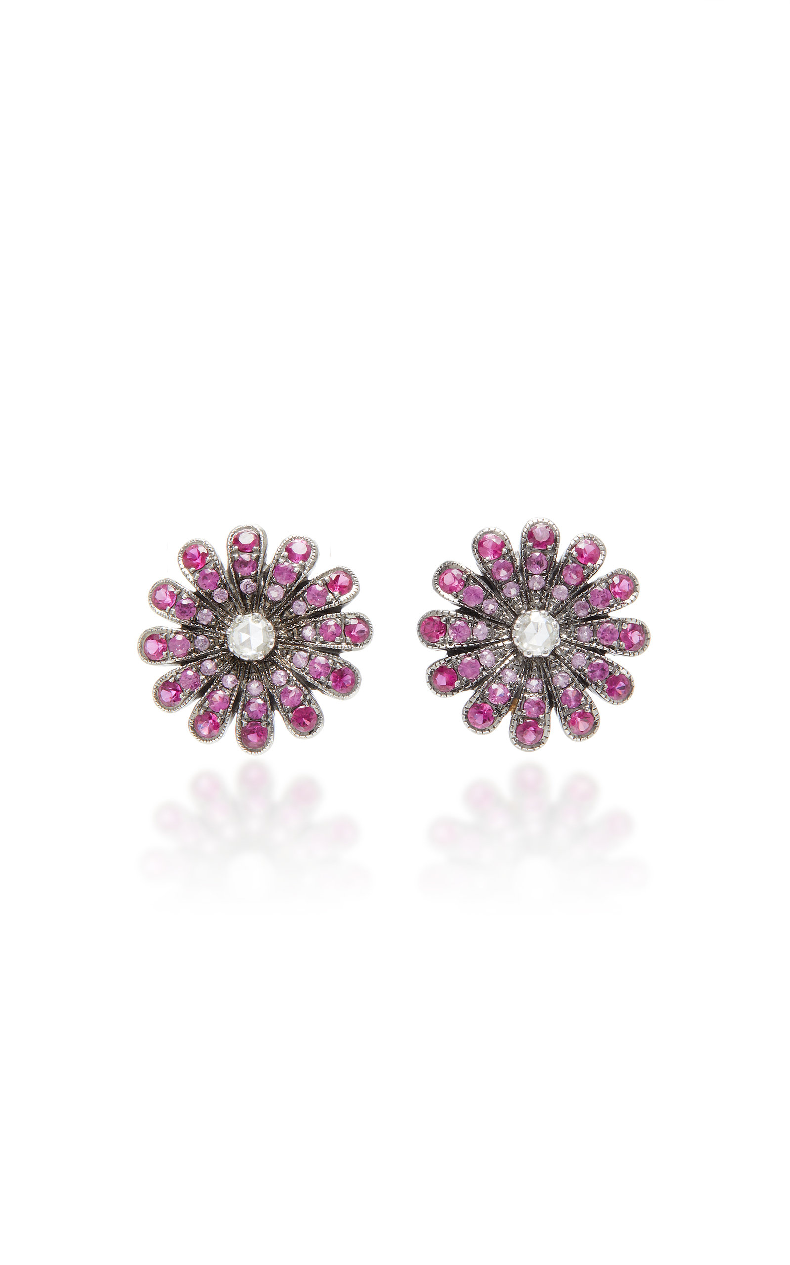 NAM CHO Rhodium-Plated 18K White Gold Ruby And Diamond Earrings in Red