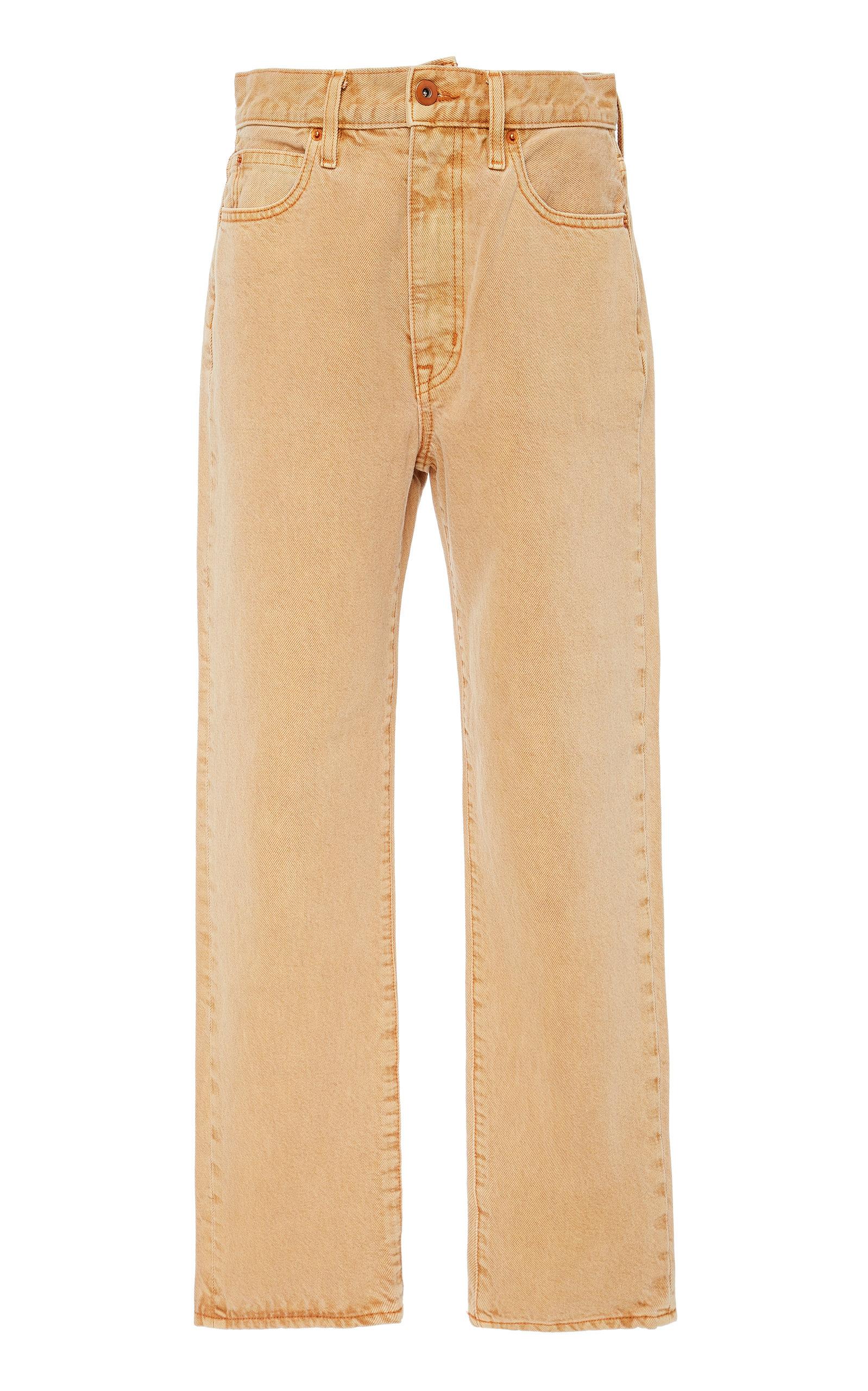 SLVRLAKE DENIM London High-Rise Straight-Leg Cropped Jeans in Orange