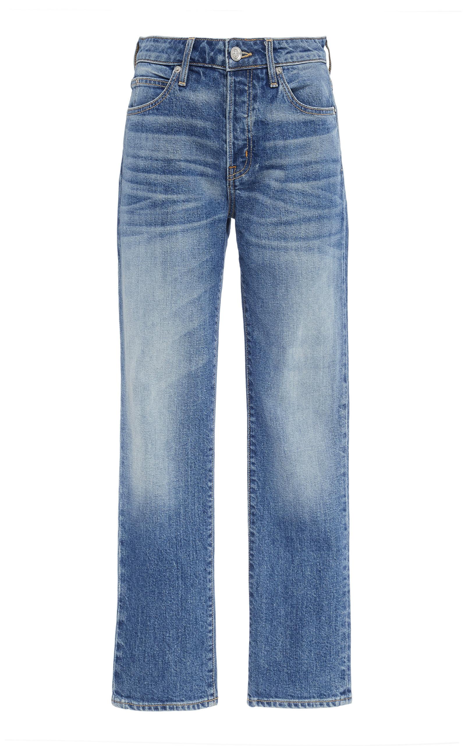 SLVRLAKE DENIM Lou Lou Mid-Rise Slim-Leg Jeans in Dark Wash